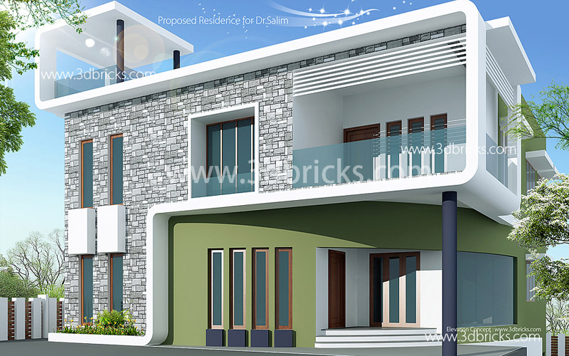 Contemporary Elevation  Architecture 3DBricks  Trivandrum Residence  Home Elevation Designs   Choose the Best Style Palettes. Home Elevation Designs. Home Design Ideas