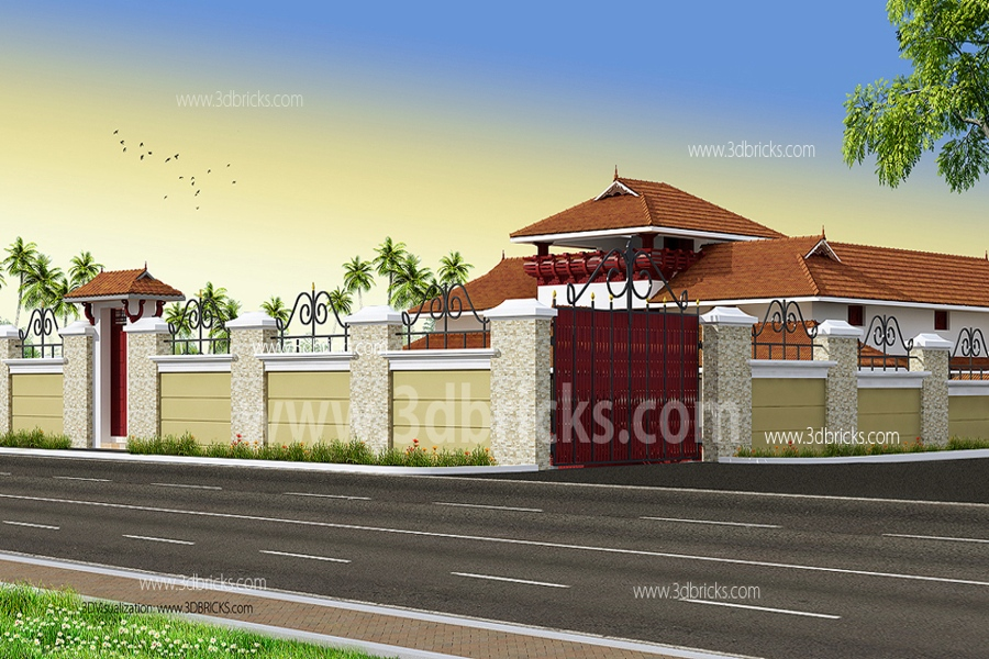 Astonishing modern nalukettu contemporary plan 3d house for Modern nalukettu house plans